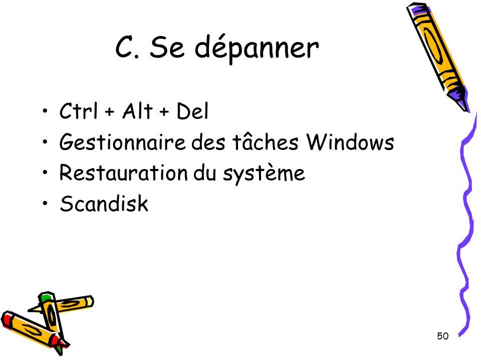 C. Se dépanner Ctrl + Alt + Del Gestionnaire des tâches Windows