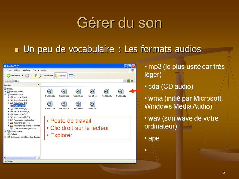 Gérer du son Un peu de vocabulaire : Les formats audios