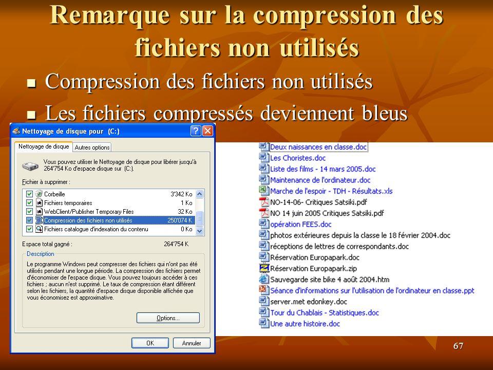 Remarque sur la compression des fichiers non utilisés