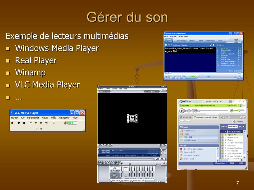 Gérer du son Exemple de lecteurs multimédias Windows Media Player