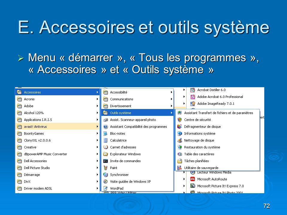 E. Accessoires et outils système