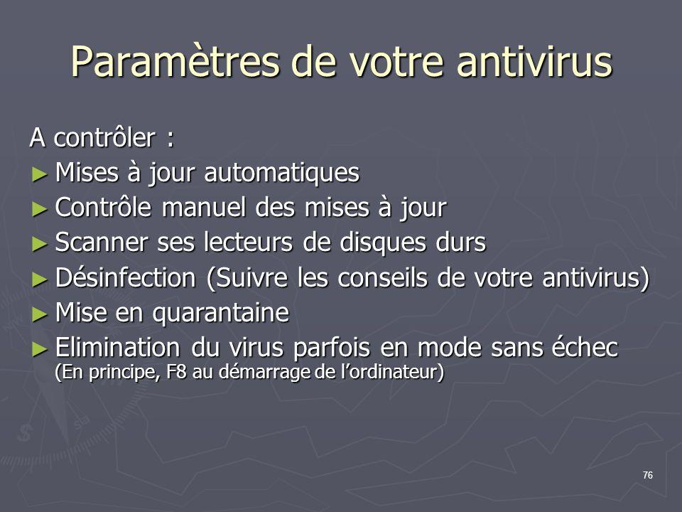 Paramètres de votre antivirus