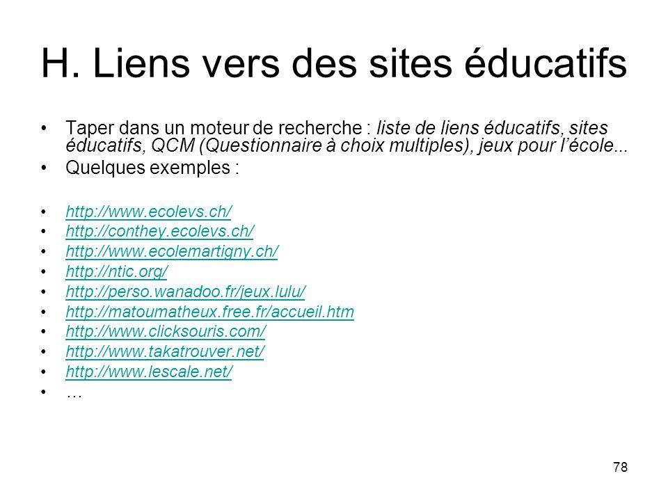 H. Liens vers des sites éducatifs