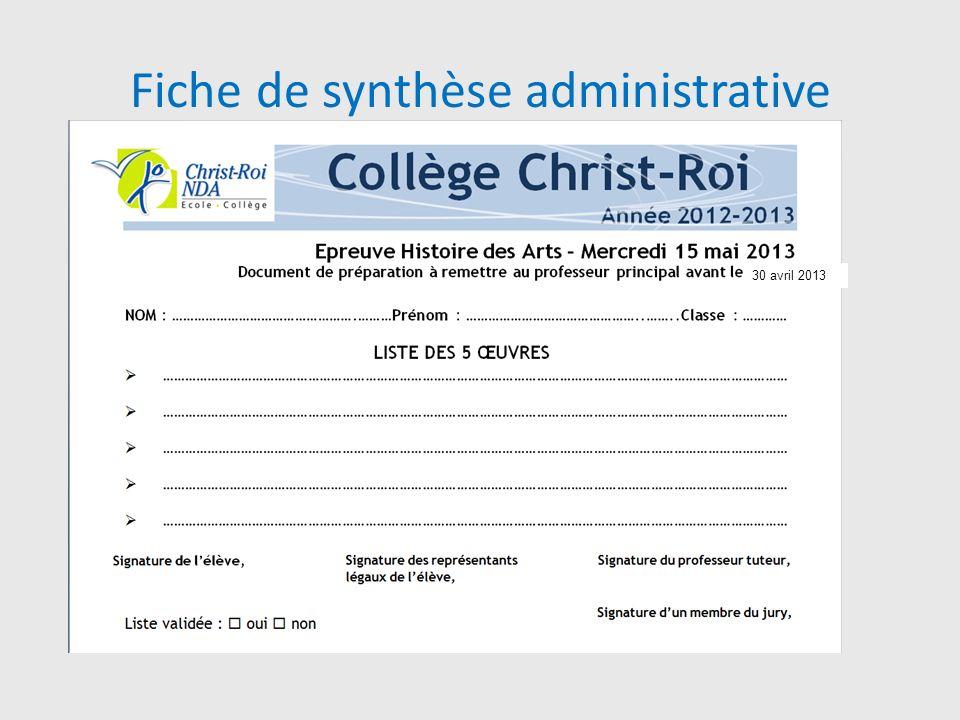 Fiche de synthèse administrative
