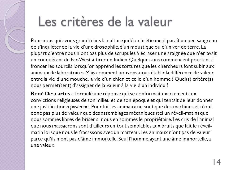 Les critères de la valeur