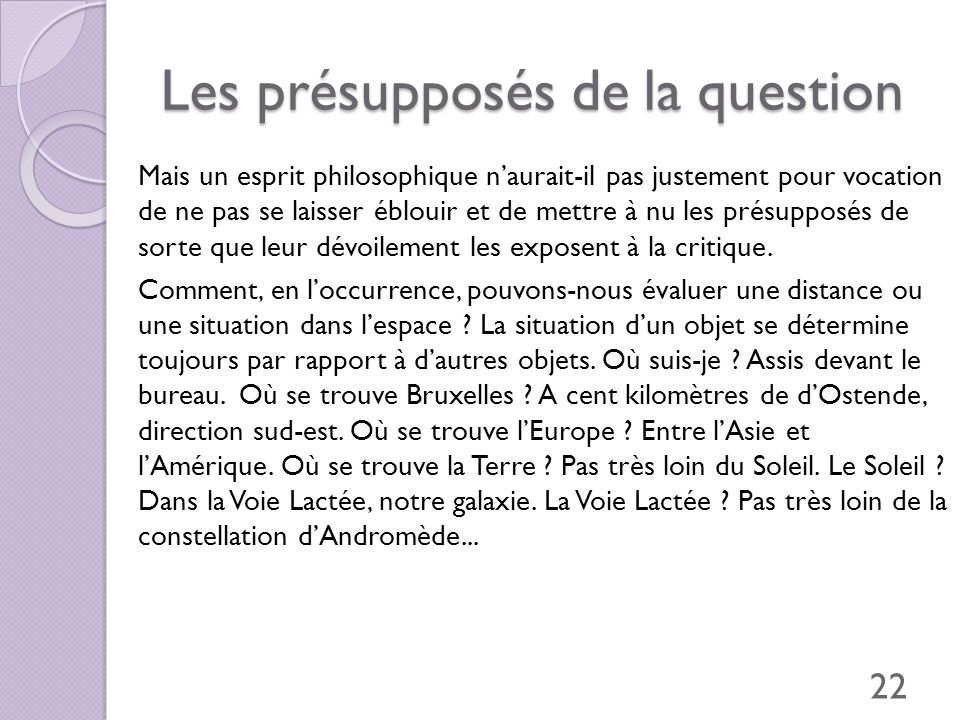 Les présupposés de la question
