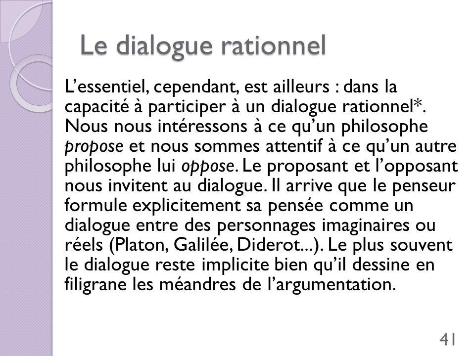 Le dialogue rationnel
