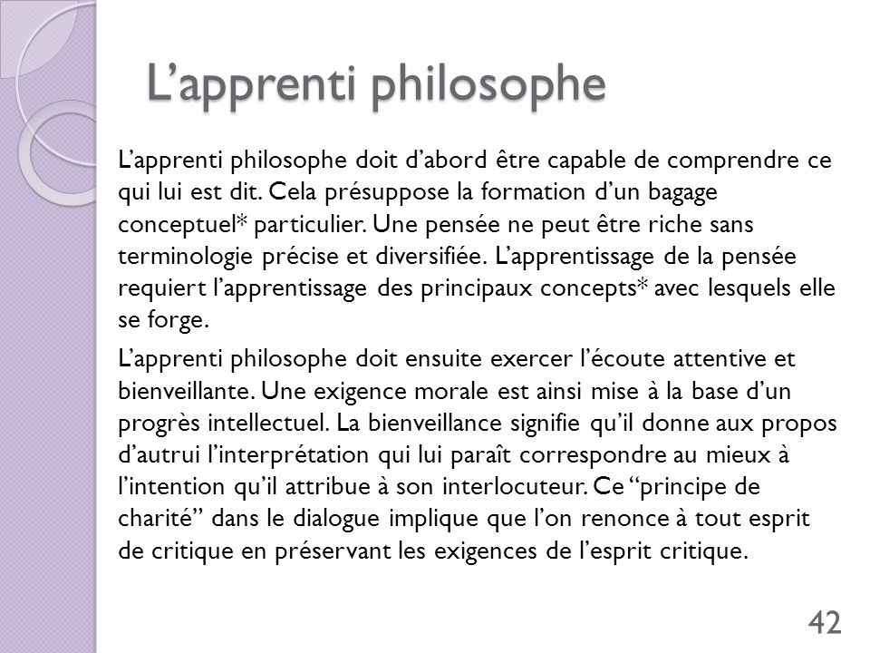 L'apprenti philosophe