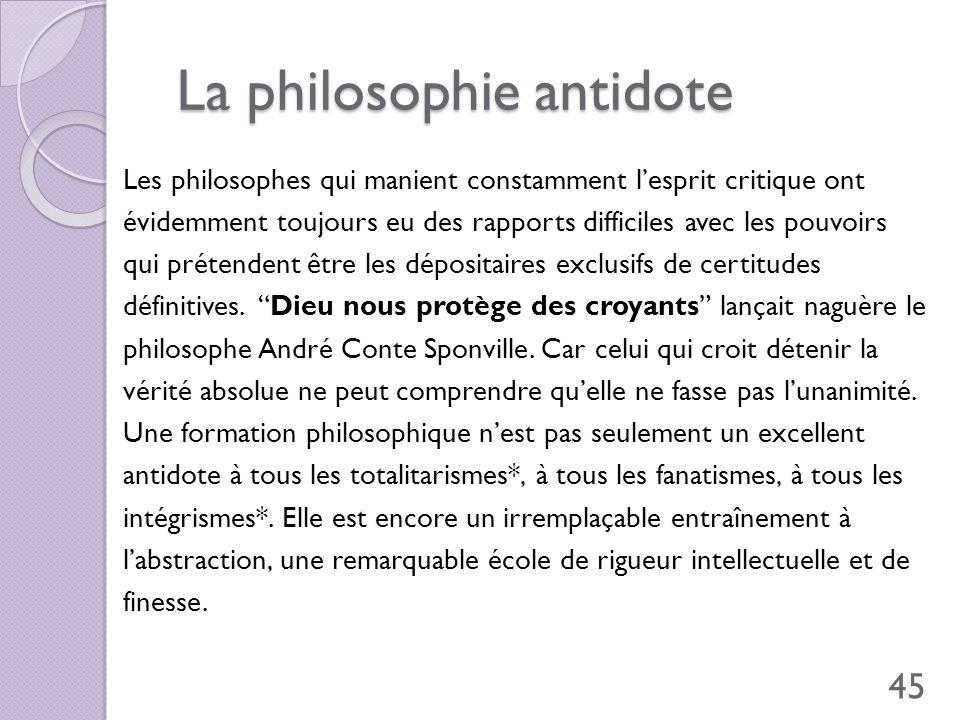 La philosophie antidote