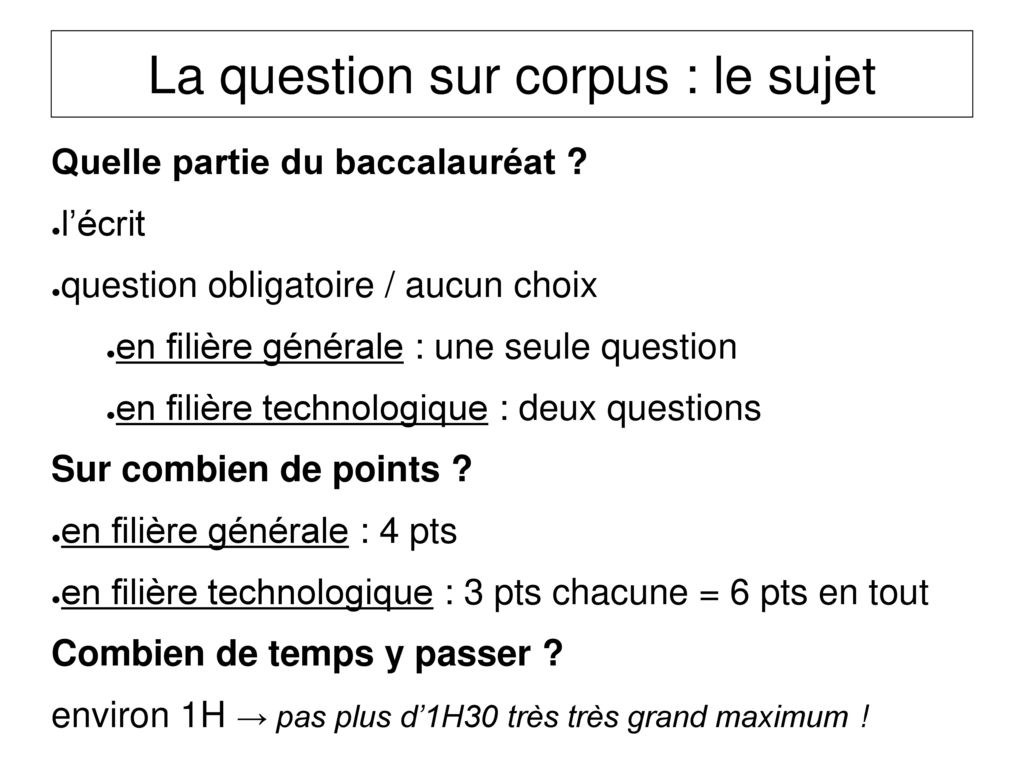 La question sur corpus : le sujet