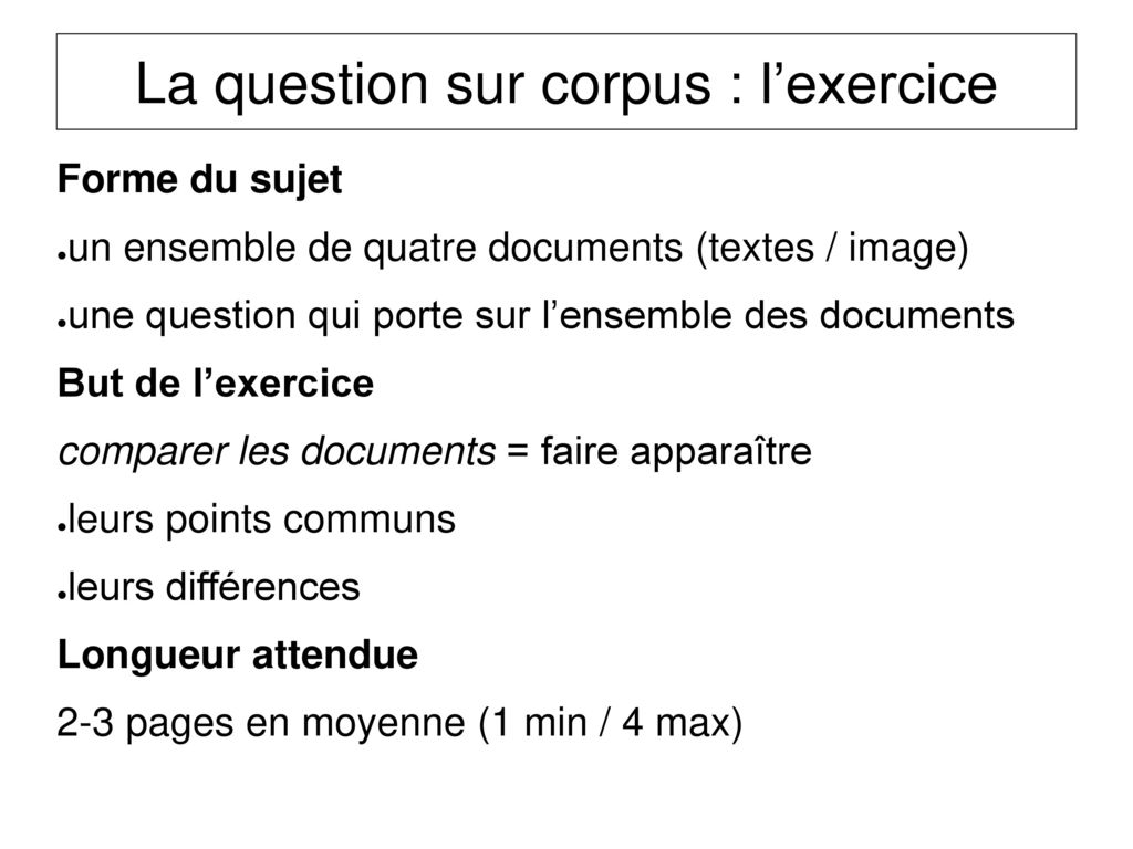 La question sur corpus : l'exercice