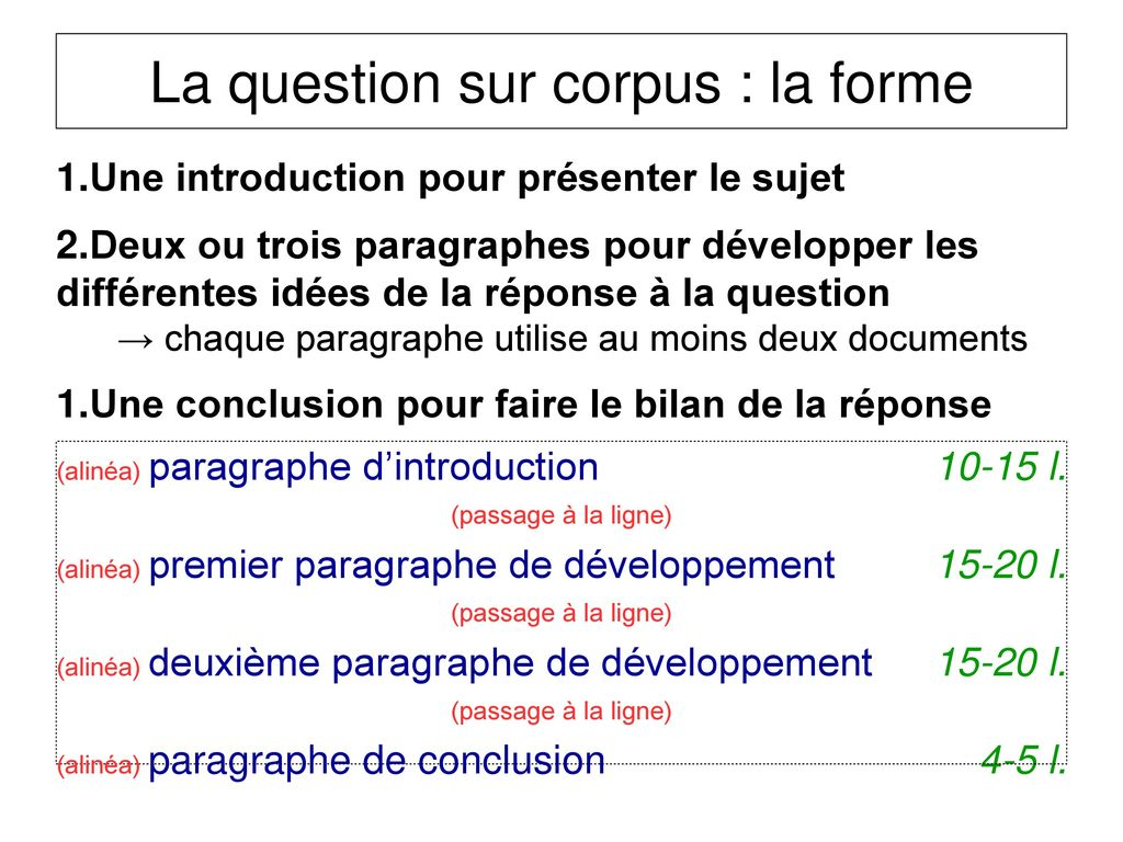 La question sur corpus : la forme