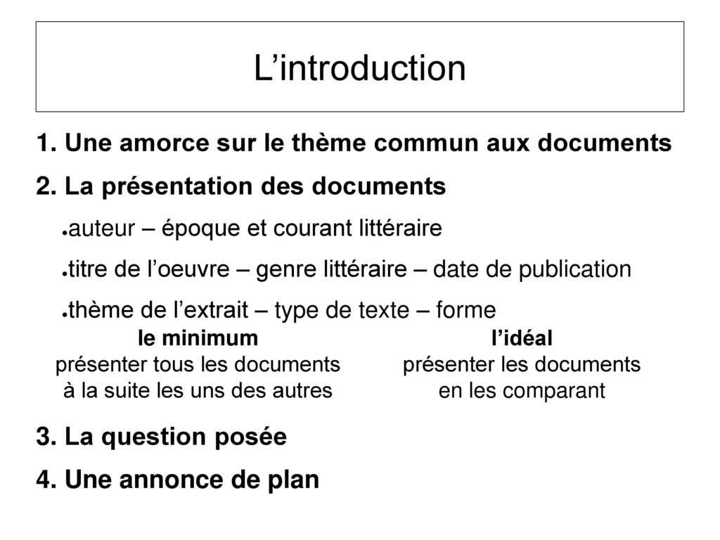 L'introduction 1. Une amorce sur le thème commun aux documents