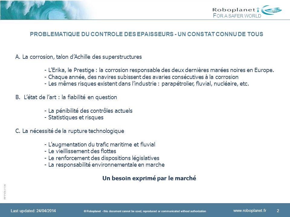 PROBLEMATIQUE DU CONTROLE DES EPAISSEURS - UN CONSTAT CONNU DE TOUS