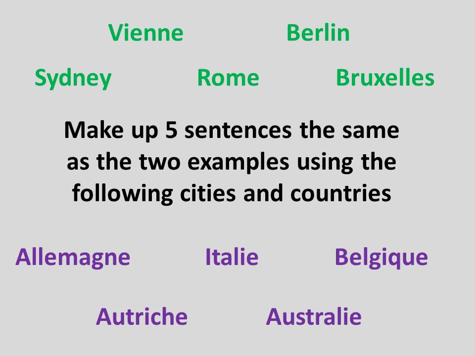 Vienne Berlin. Sydney. Rome. Bruxelles. Make up 5 sentences the same as the two examples using the following cities and countries.