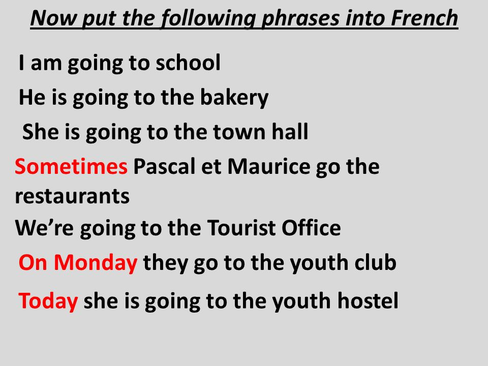 Now put the following phrases into French