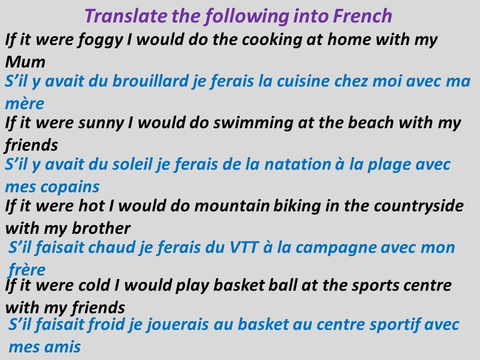 Translate the following into French