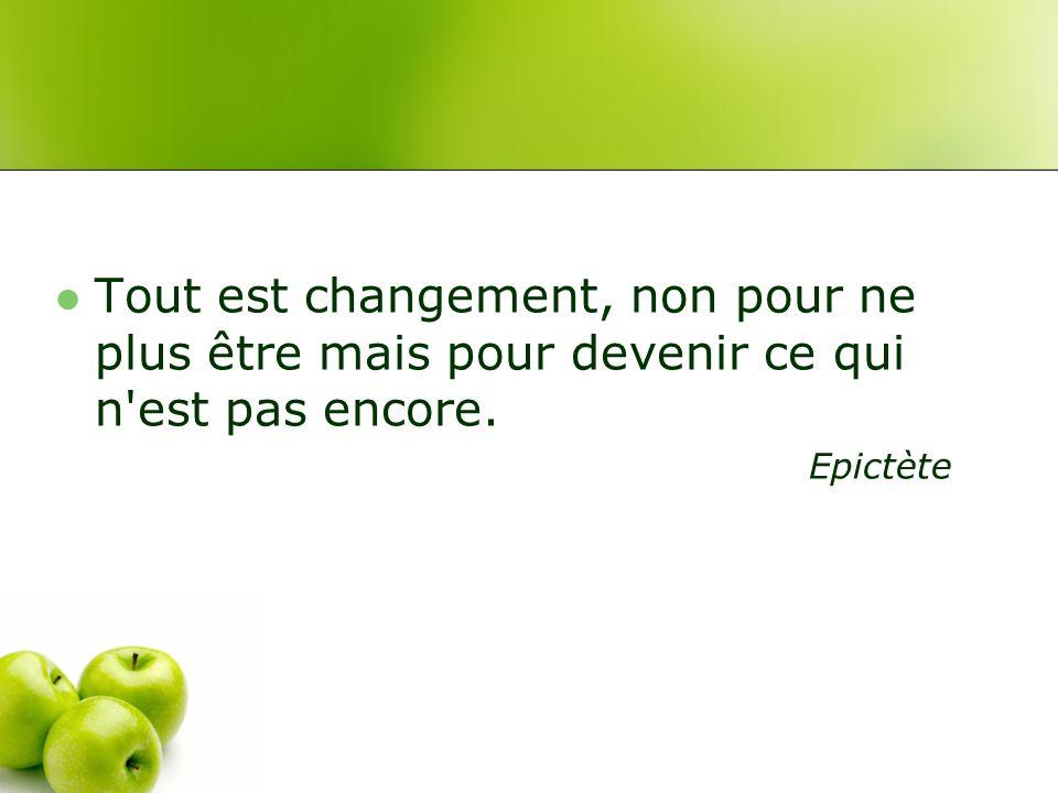 Tout est changement, non pour ne plus être mais pour devenir ce qui n est pas encore.