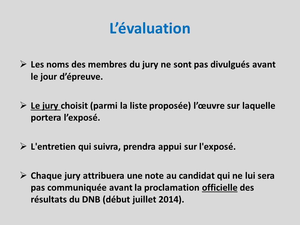 L'évaluation Les noms des membres du jury ne sont pas divulgués avant le jour d'épreuve.