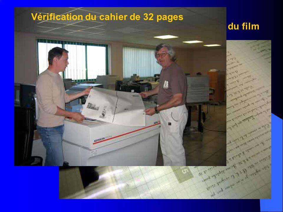 Vérification du cahier de 32 pages