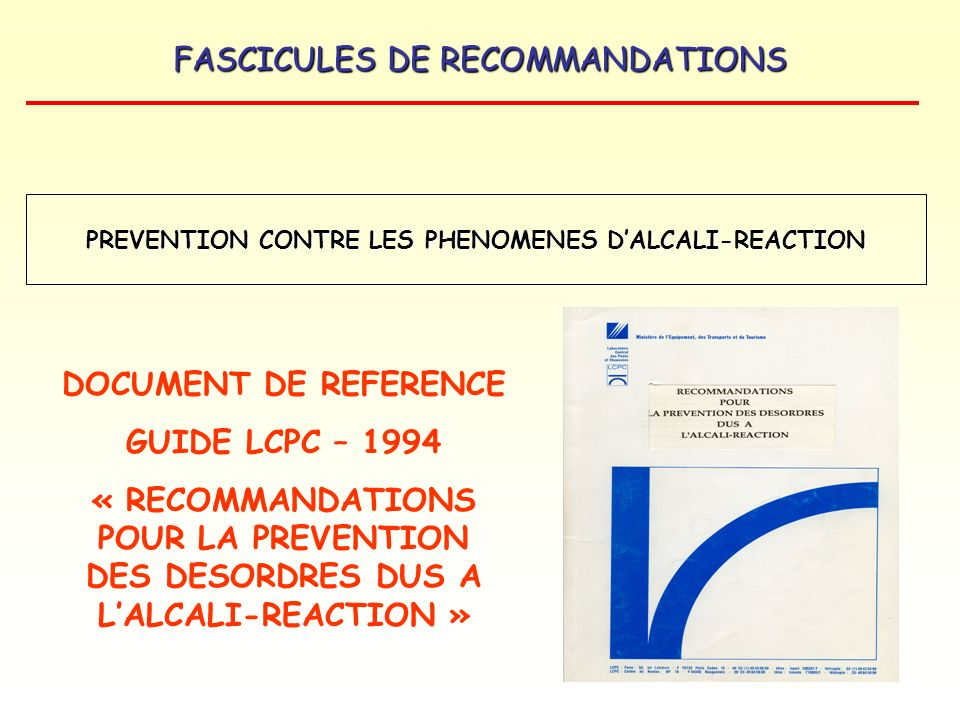 PREVENTION CONTRE LES PHENOMENES D'ALCALI-REACTION
