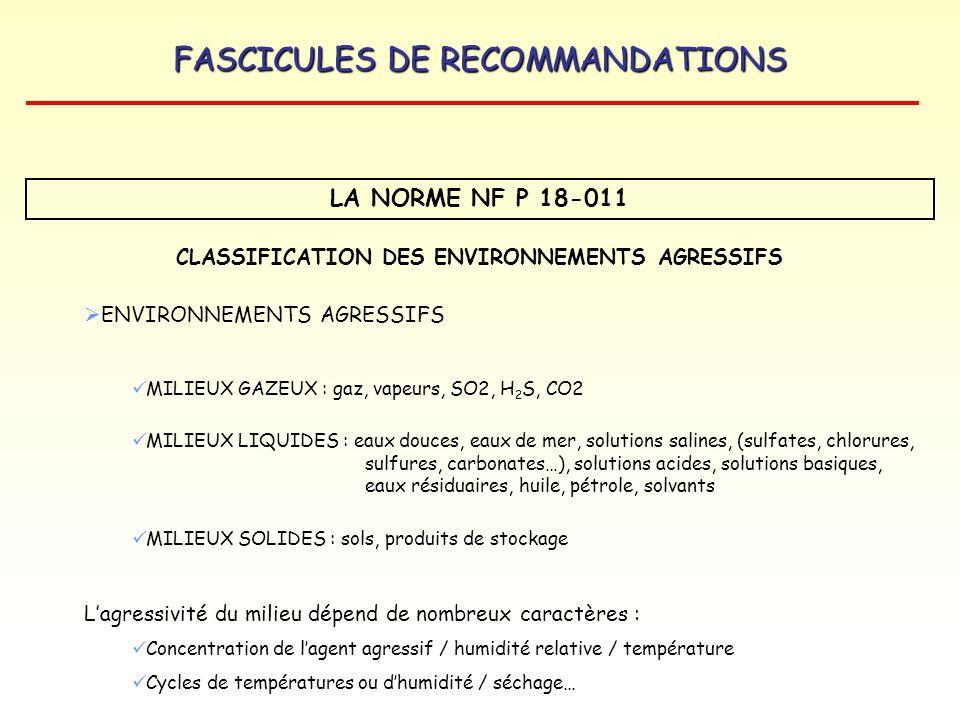 CLASSIFICATION DES ENVIRONNEMENTS AGRESSIFS