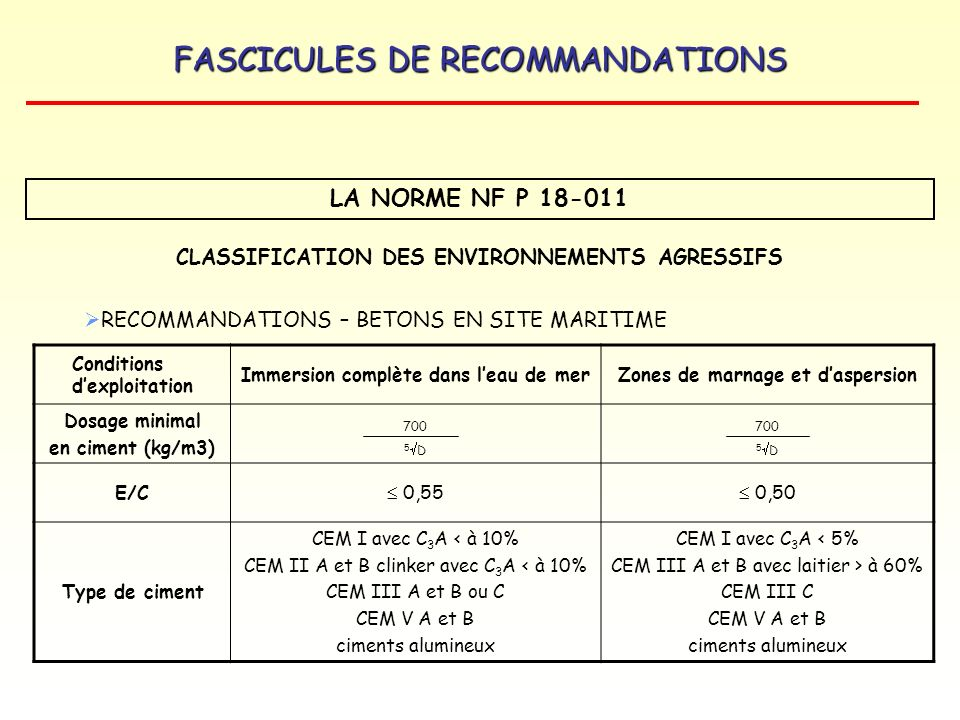 LA NORME NF P 18-011 CLASSIFICATION DES ENVIRONNEMENTS AGRESSIFS