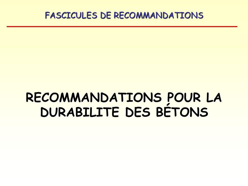 RECOMMANDATIONS POUR LA DURABILITE DES BÉTONS