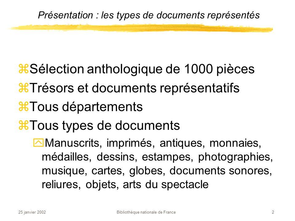 Présentation : les types de documents représentés