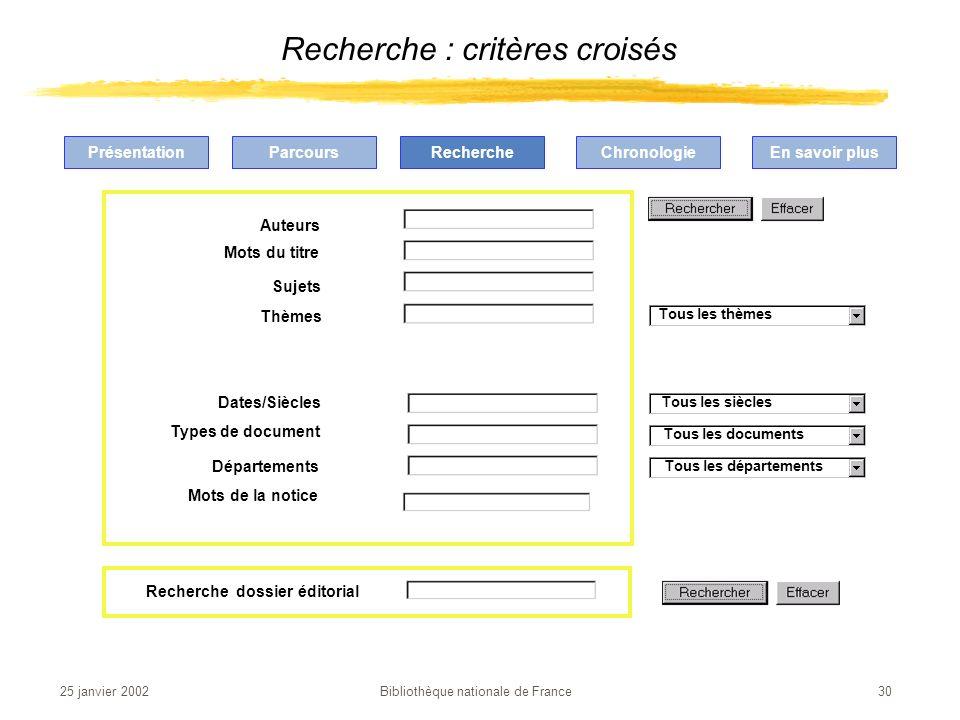 Recherche : critères croisés