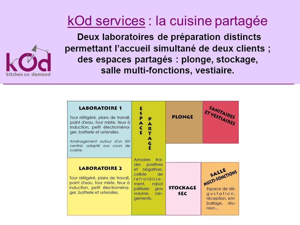 kOd services : la cuisine partagée Deux laboratoires de préparation distincts permettant l'accueil simultané de deux clients ;