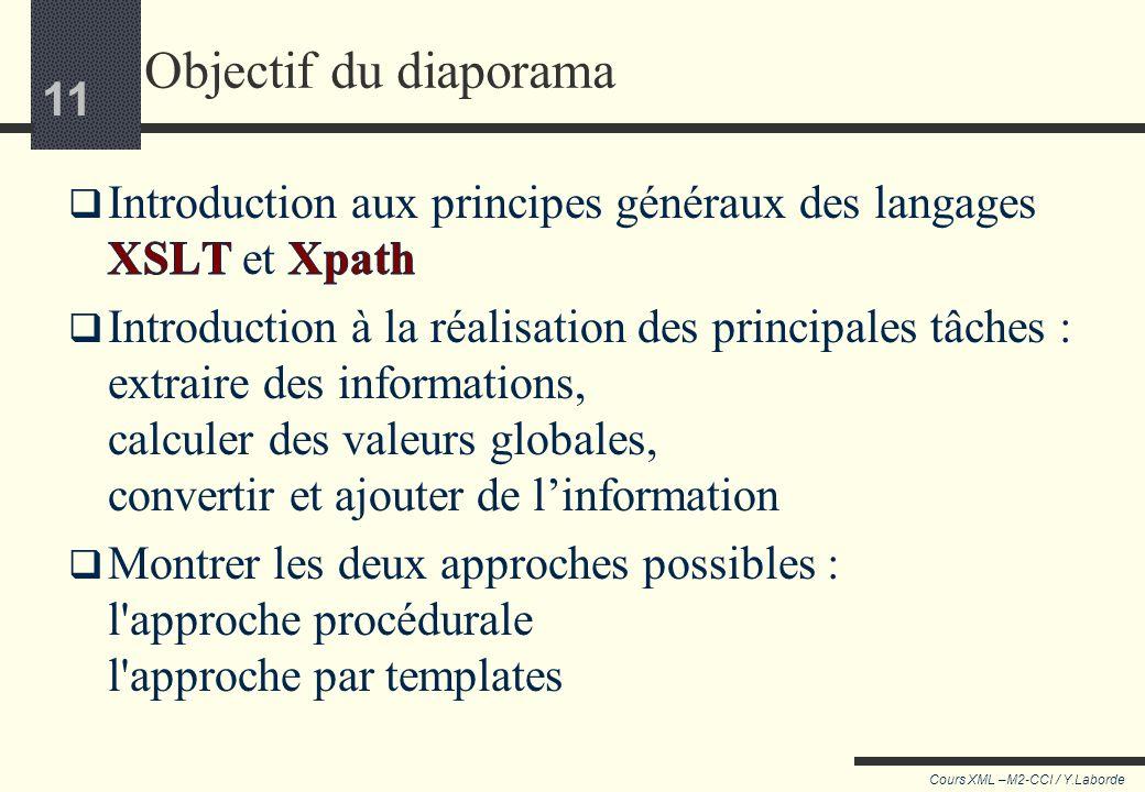 Objectif du diaporama Introduction aux principes généraux des langages XSLT et Xpath.