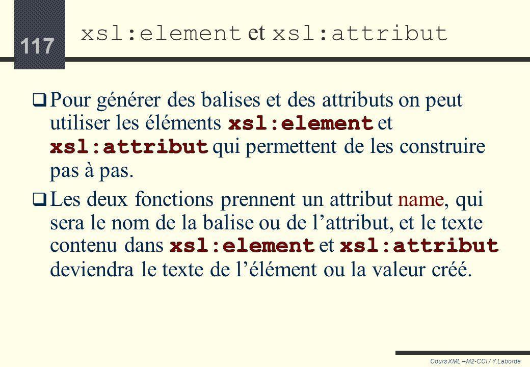 xsl:element et xsl:attribut