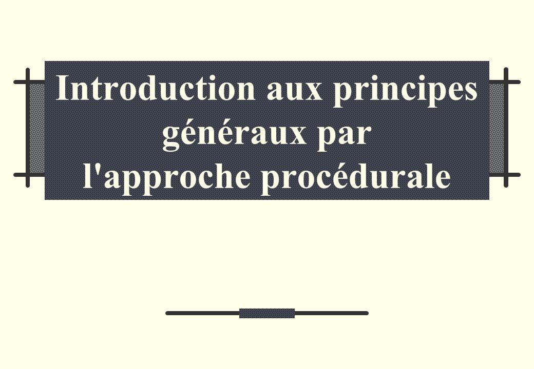 Introduction aux principes généraux par l approche procédurale