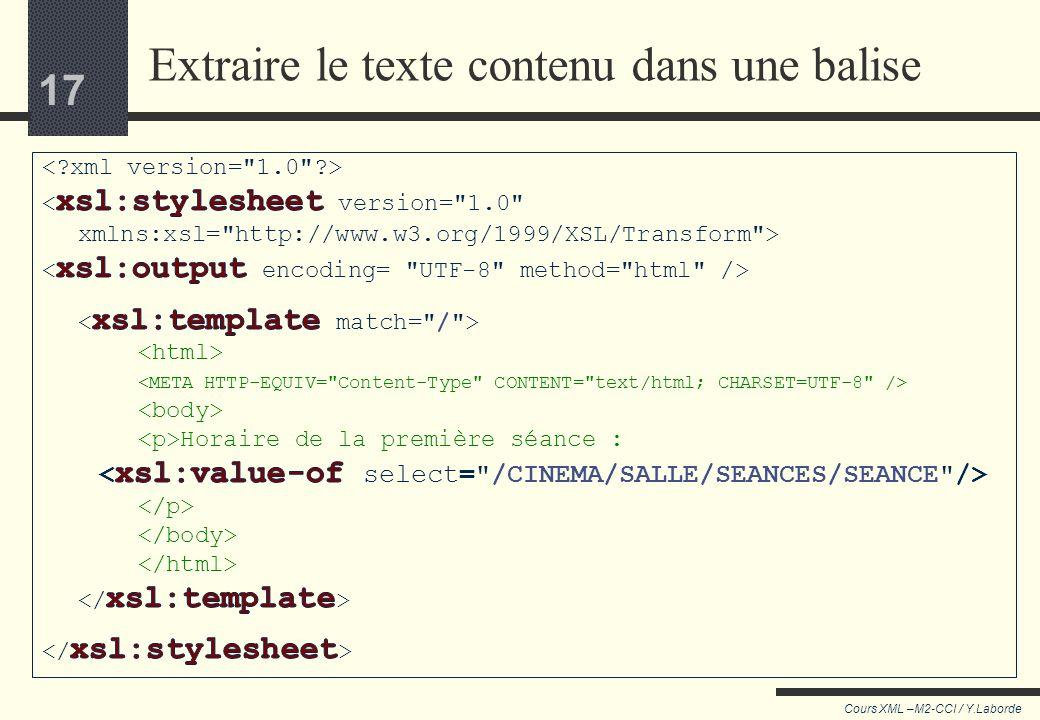 Extraire le texte contenu dans une balise