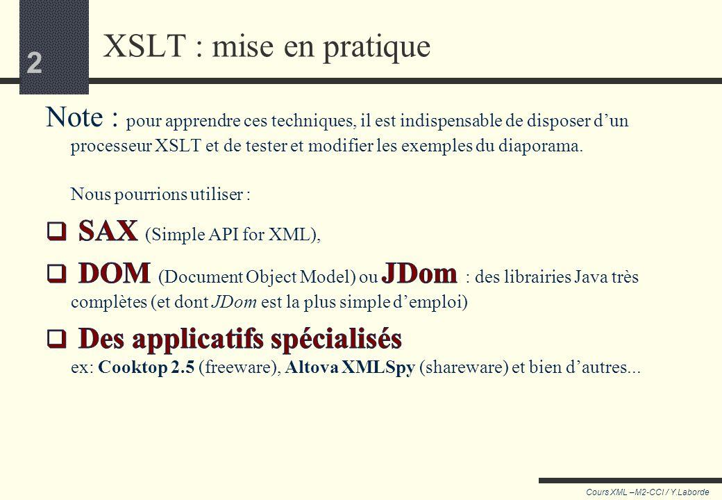 XSLT : mise en pratique