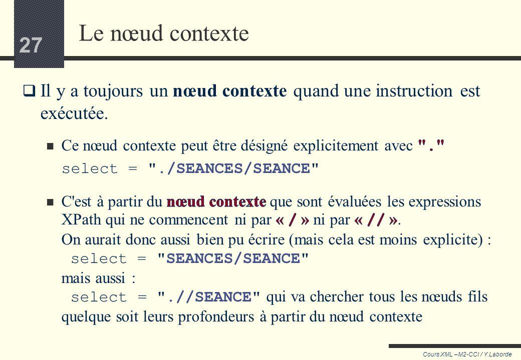 Le nœud contexte Il y a toujours un nœud contexte quand une instruction est exécutée. Ce nœud contexte peut être désigné explicitement avec .