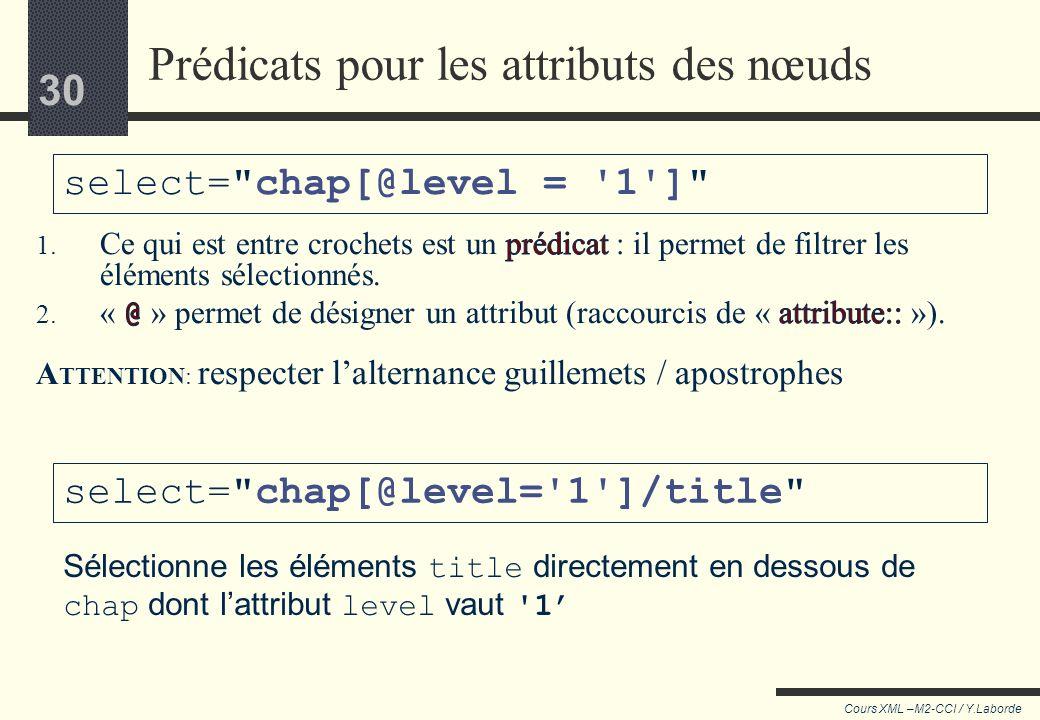 Prédicats pour les attributs des nœuds