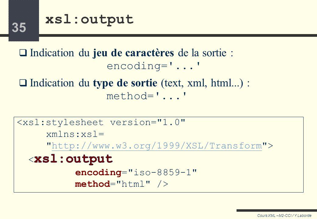 xsl:output Indication du jeu de caractères de la sortie : encoding= ... Indication du type de sortie (text, xml, html...) : method= ...