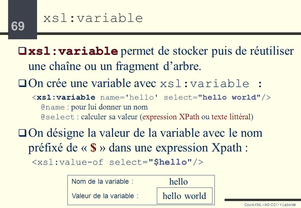 xsl:variable xsl:variable permet de stocker puis de réutiliser une chaîne ou un fragment d'arbre. On crée une variable avec xsl:variable :