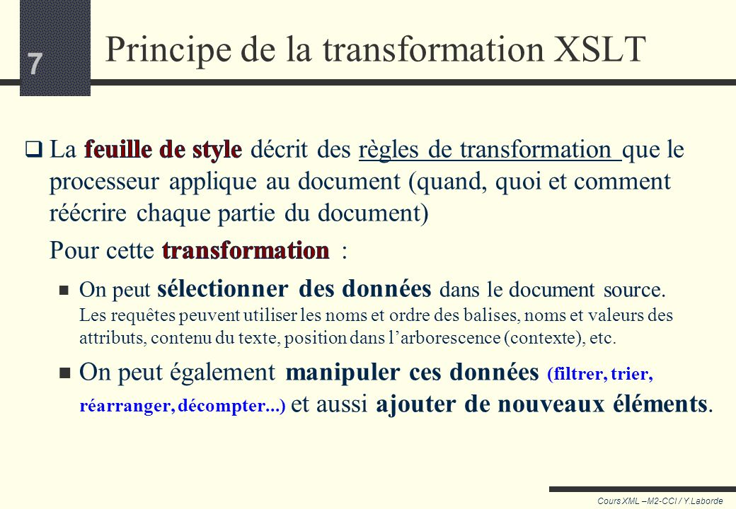 Principe de la transformation XSLT