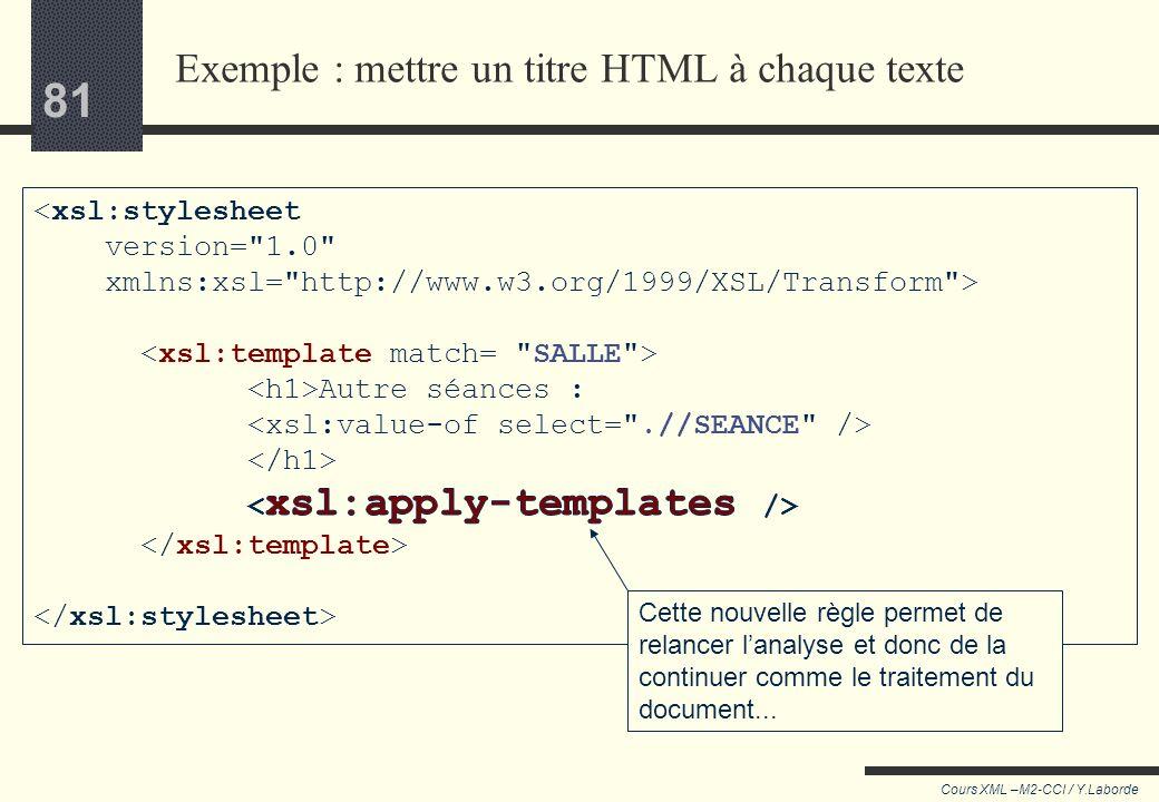 Exemple : mettre un titre HTML à chaque texte