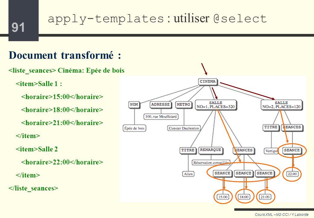 apply-templates : utiliser @select