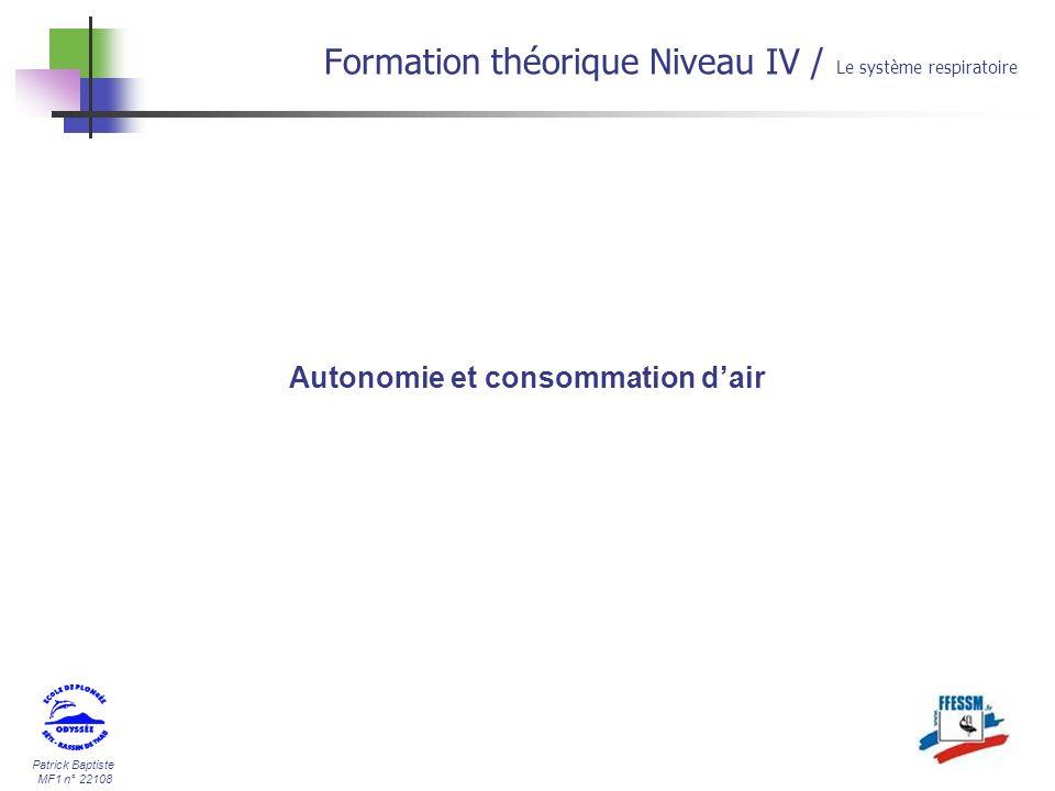 Autonomie et consommation d'air