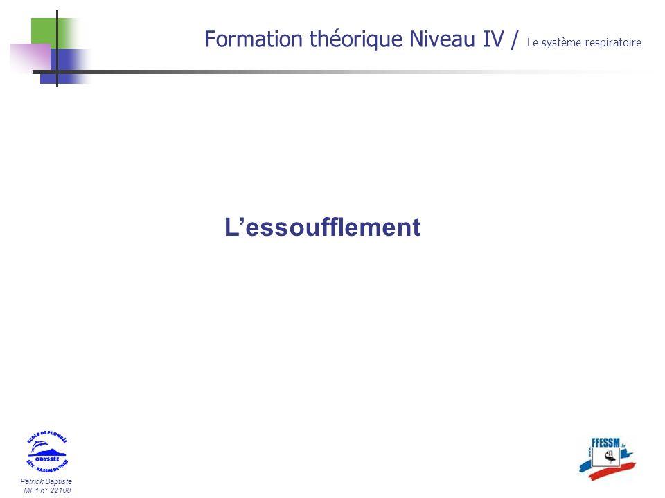 30/03/2017 Formation théorique Niveau IV / Le système respiratoire L'essoufflement
