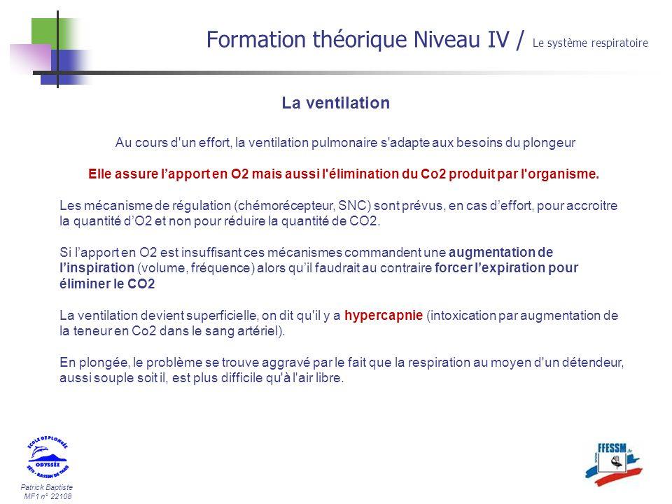 Formation théorique Niveau IV / Le système respiratoire