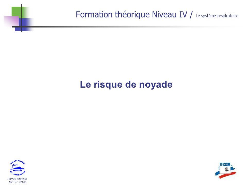30/03/2017 Formation théorique Niveau IV / Le système respiratoire Le risque de noyade