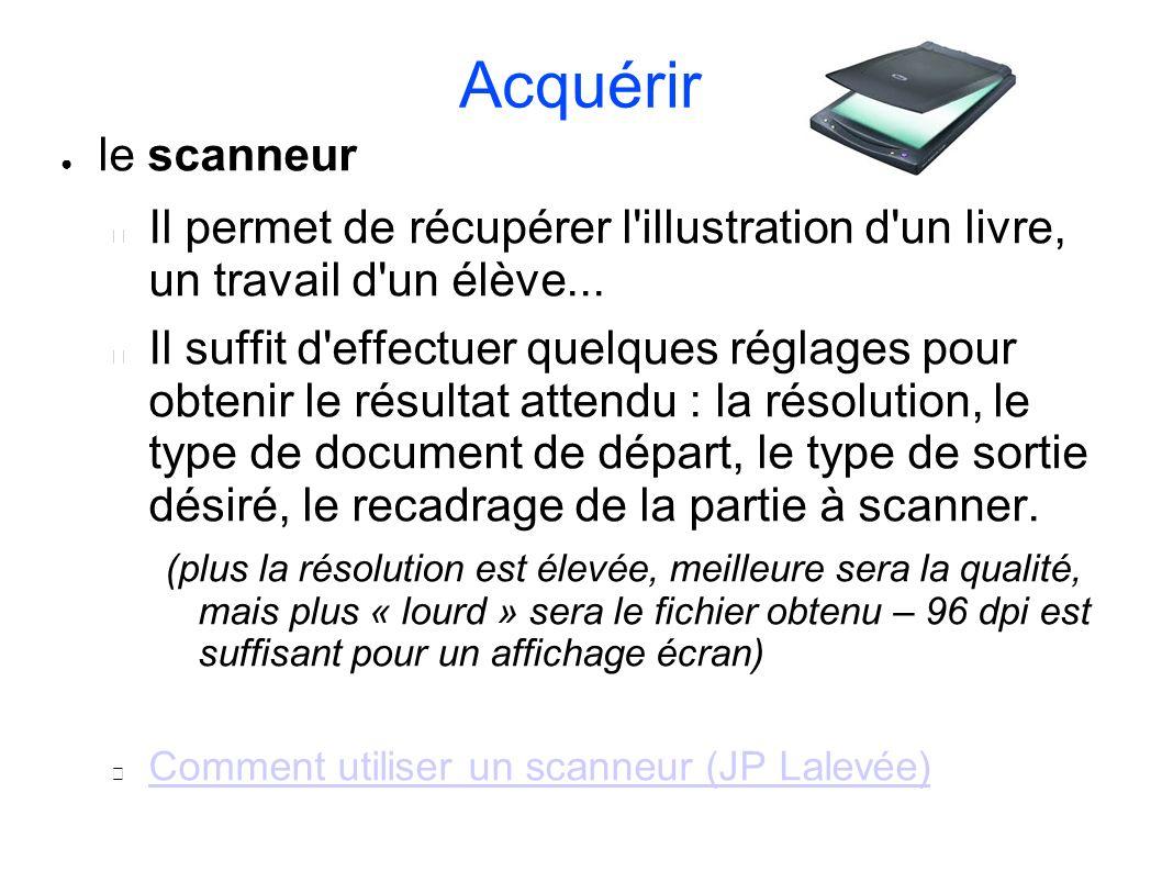 Acquérir le scanneur. Il permet de récupérer l illustration d un livre, un travail d un élève...
