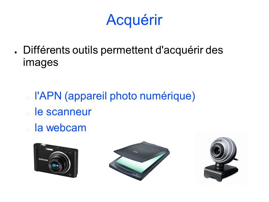 Acquérir Différents outils permettent d acquérir des images