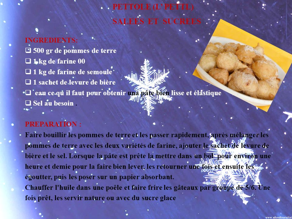 PETTOLE (L' PETTL) SALEES ET SUCREES INGREDIENTS: